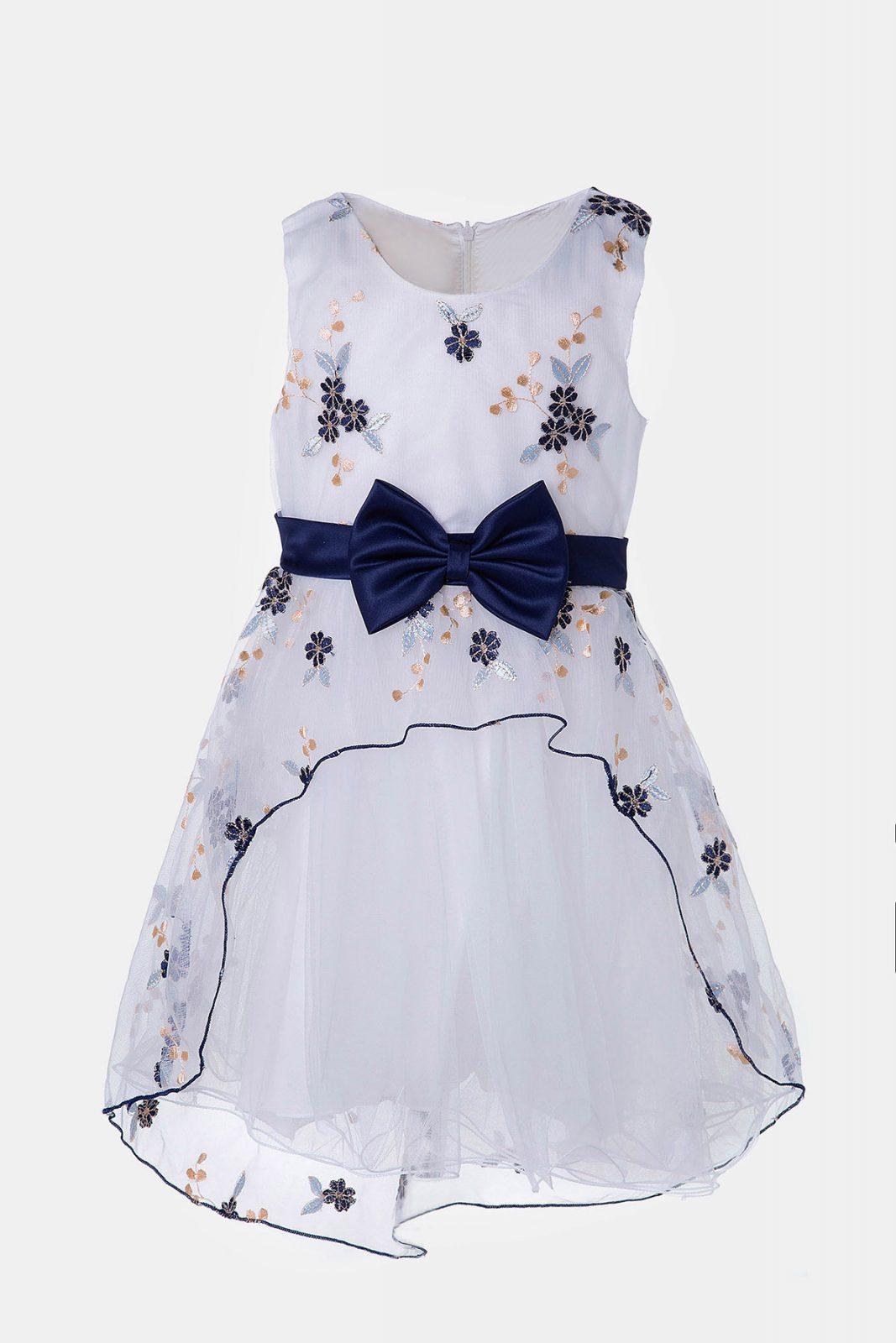 6a2de25ff18e Παιδικό φόρεμα εμπριμέ με μπλε φιόγκο και λουλούδια