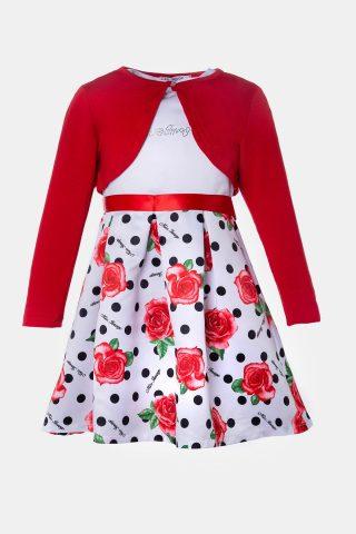 Παιδικό φόρεμα με μπολερό. Εμπριμέ φούστα με σατέν κορδέλα στη μέση και κόκκινο μπολερό