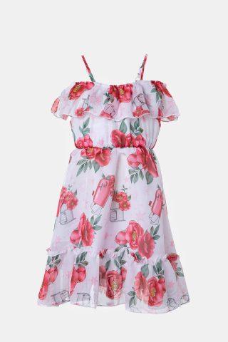 Παιδικό φόρεμα με βολάν και φλοράλ μοτίβο