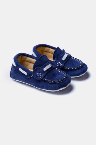 Παπούτσια bebe αγκαλιάς μπλε σε στυλ μοκασίνι