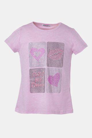Ροζ μπλούζα παιδική τύπωμα στρας
