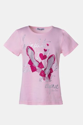 Ροζ παιδική μπλούζα με τύπωμα φούξια γοβάκια