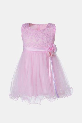 Ροζ βρεφικό φόρεμα με λουλούδι στη μέση