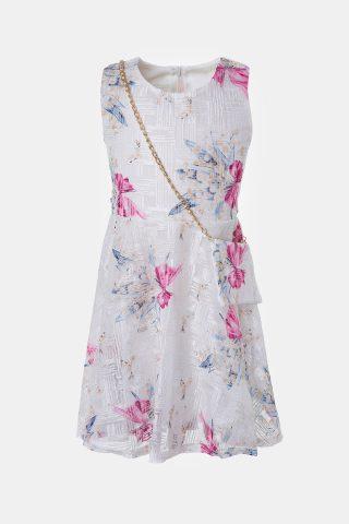 Σιέλ παιδικό φόρεμα με φλοράλ μοτίβο