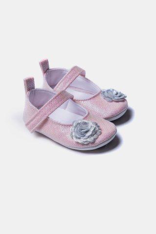 Βρεφικά παπούτσια για κορίτσια πάνινα με λουλούδι μπροστά