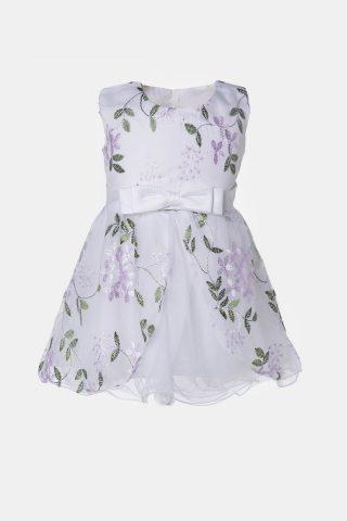 Βρεφικό φόρεμα με φιόγκο στη μέση και φλοράλ μοτίβο