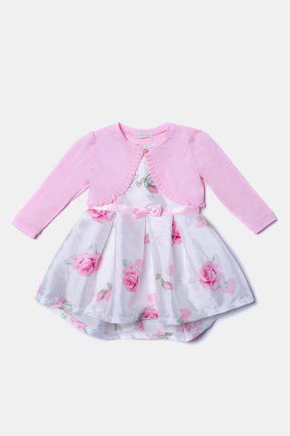 Βρεφικό φόρεμα σατέν με ροζ μπολερό