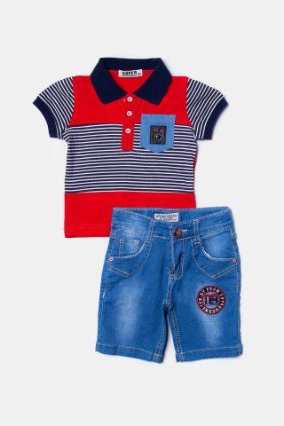 Βρεφικό σετ τζιν για αγόρια με κόκκινη μπλούζα και τζιν βερμούδα