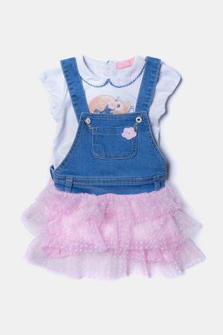 Βρεφικό τζιν φόρεμα με ροζ τελείωμα