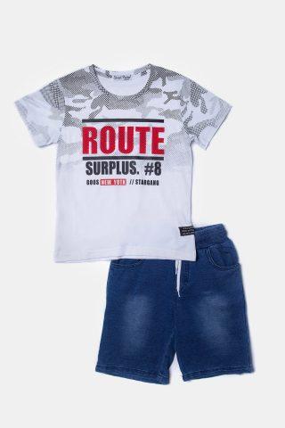 Άσπρο παιδικο σετ για αγόρια με στάμπα στη μπλουζα και μπλε σορτς