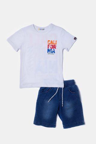 άσπρο παιδικό σετ για αγόρια με λευκή μπλούζα & μπλε σορτσάκι