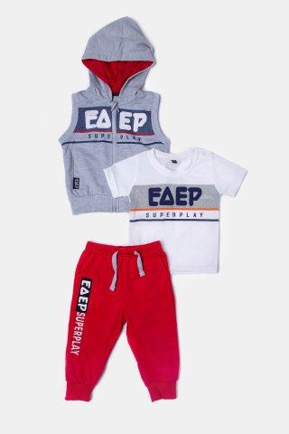 Φόρμα σετ για αγόρια με κόκκινο παντελόνι λευκό μπλουζάκι για αγόρια και αμάνικο για αγόρια
