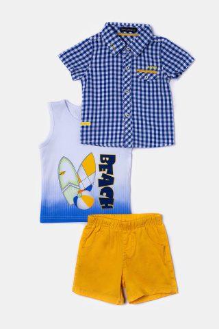 Καρό βρεφικό σετ με βερμούδα μπλουζάκι και καρό πουκάμισο