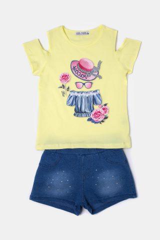 Κίτρινο παιδικό σετ με μπλε σορτσάκι με ξέβαμμα