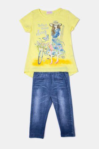 κίτρινο σετ για κορίτσι με τύπωμα ποδήλατο στη μπλούζα και τζιν παντελόνι