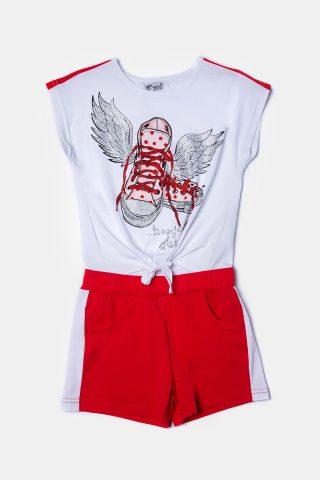 κόκκινο σετ για κορίτσια με παιδικό σορτσάκι και αμάνικη μπλούζα για κορίτσια