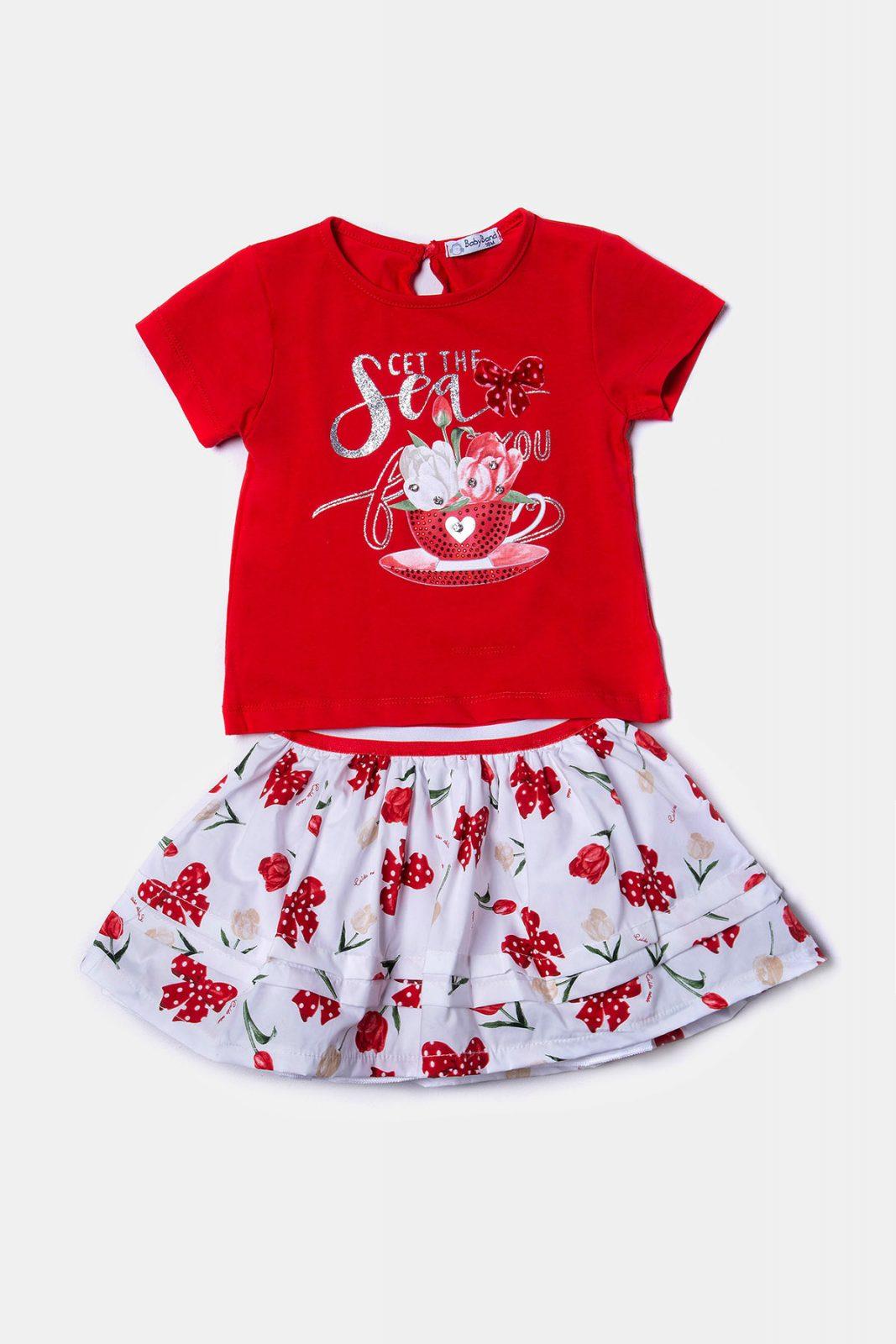 a5b5c9eb5d6 Κόκκινο βρεφικό σετ με τύπωμα στρας και φούστα με πιέτες