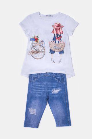 Λευκό παιδικό σετ με στάμπα στη μπλούζα και τζιν παντελόνι