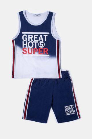 6365128479f Λευκό παιδικο σετ για αγόρια με αμάνικο μπλουζάκι και μπλε σορτσακι