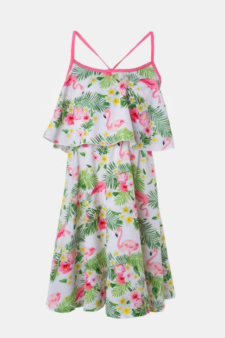 Παιδικό φόρεμα φλαμίνγκο σε ροζ και πράσινες αποχρώσεις