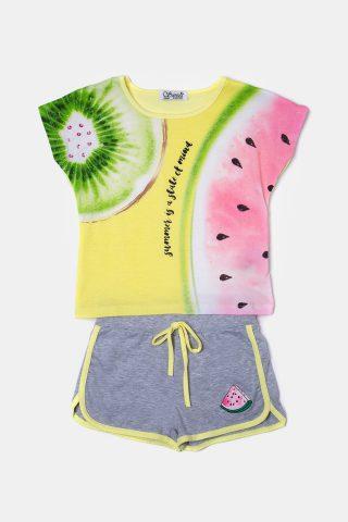 παιδικό σετ για κορίτσια με μπλούζα με τύπωμα φρούτα και γκρι σορτσάκι