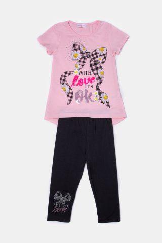 Σετ παντελόνι μπλούζα με μαύρο παντελόνι και μπλούζα ροζ με μαύρο φιόγκο
