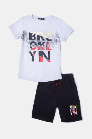 παιδικό σετ με σορτσάκι για αγόρια με λευκή μπλούζα και σκούρο σορτς