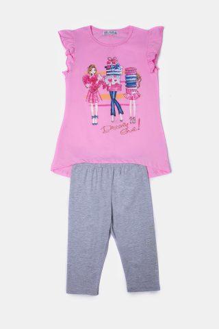 Ροζ παιδικό σετ με γκρι κολάν κάπρι και ροζ μπλούζα
