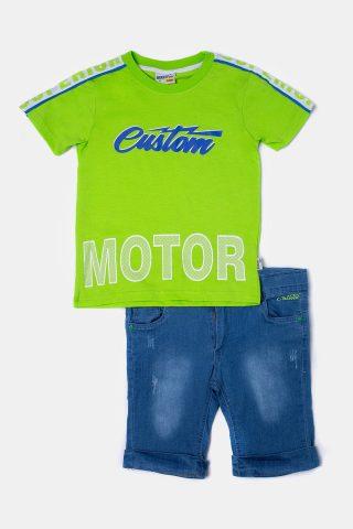 Σετ για αγόρι με λαχανί παιδική μπλούζα και τζιν βερμούδα για αγόρια