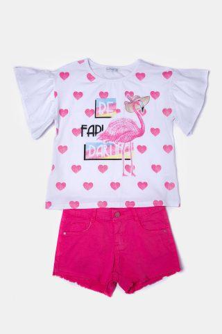 σετ για κορίτσια φλαμίνγκο με φούξια παιδικό σορτσάκι και μπλούζα με καρδούλες