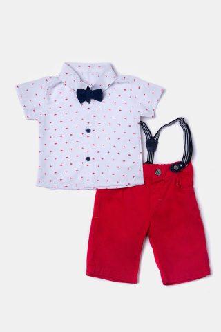 Σετ βρεφικά ρούχα με πουά πουκάμισο κόκκινη βερμούδα και τιράντες