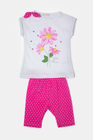 Σετ βρεφικό φούξια με πουά παντελόνι και λευκή μπλουζα με λουλούδι