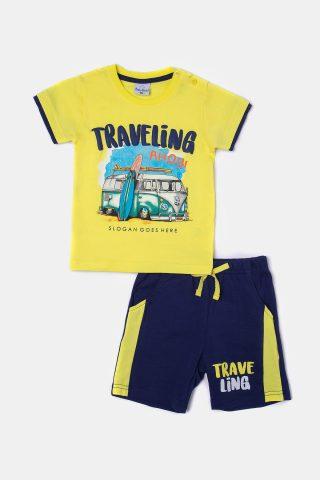 βρεφικό σετ για αγόρι με κίτρινη μακό μπλούζα και μπλε βερμούδα