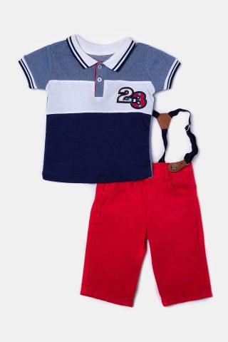 Βρεφικό σετ κόκκινο με τρίχρωμη μπλούζα, κόκκινη βερμούδα και τιράντες