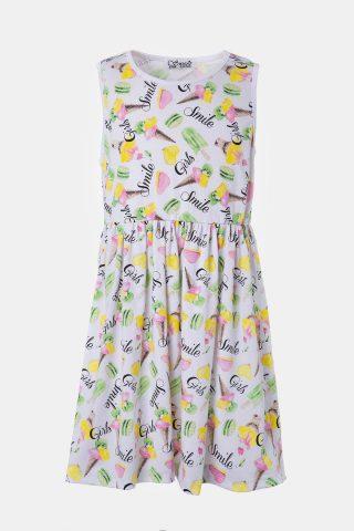 Εμπριμέ φόρεμα για κορίτσι με σούρα στη μέση και κίτρινες, ροζ και πράσινες λεπτομέρειες