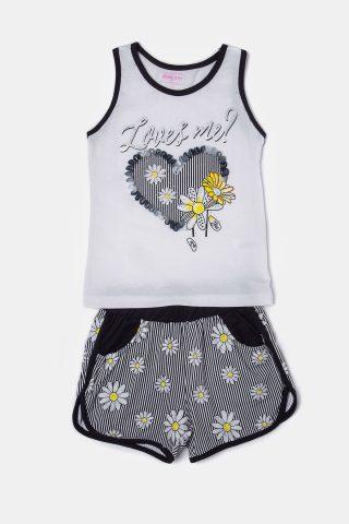 Εμπριμέ σετ για κορίτσια με αμάνικο μπλουζάκι με τύπωμα καρδιά συνδυασμένο με εμπριμέ σορτς