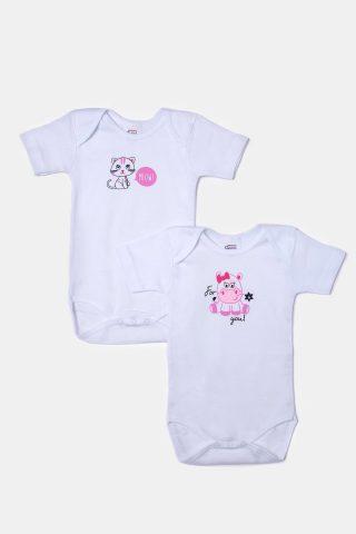 Φορμάκια μωρού για κορίτσια σε λευό χρώμα με ροζ τύπωμα