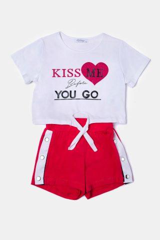 Φούξια παιδικό σετ καλοκαιρινο με σορτσακι και μπλούζα με τύπωμα KISS ME