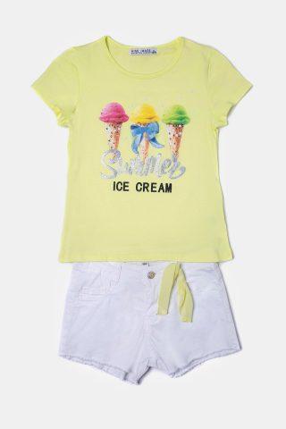 Κίτρινο σετ για Κορίτσια με γκλίτερ τύπωμα παγωτό και ξέφτια στο σορτσάκι