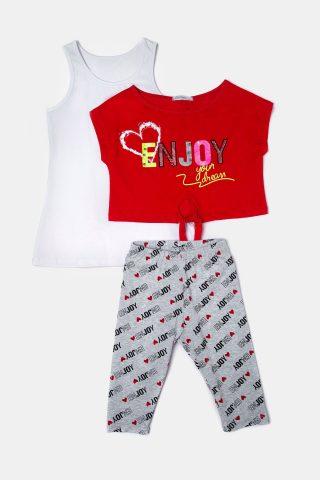Κόκκινο παιδικό σετ με κολάν εμπριμέ, λευκό φανελάκι και κόκκινη μπλούζα