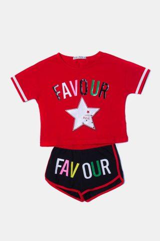 Κόκκινο σετ για κορίτσια με σορτσάκι και μακό μπλουζάκι με αστέρι