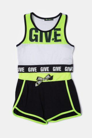 Πράσινο σετ για κορίτσια με αμάνικο μπλουζάκι και μαύρο σορτς με πράσινη ρίγα