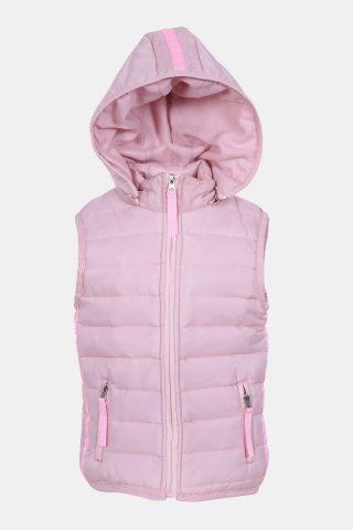 Ροζ αμάνικο μπουφάν με αποσπώμενη κουκούλα και φλις επένδυση
