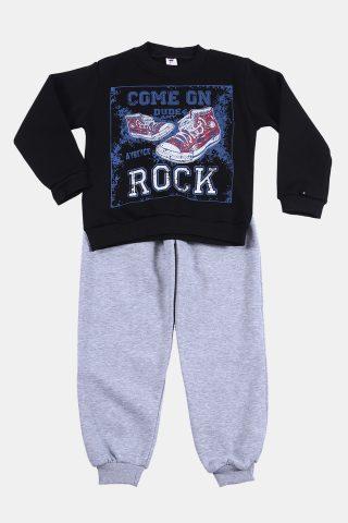 Φόρμα παιδική για Αγόρια με μαύρο φούτερ και γκρι παντελόνι
