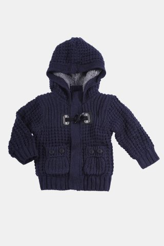 Πλεκτή ζακέτα για μωρά με κουκούλα και γούνινη επένδυση