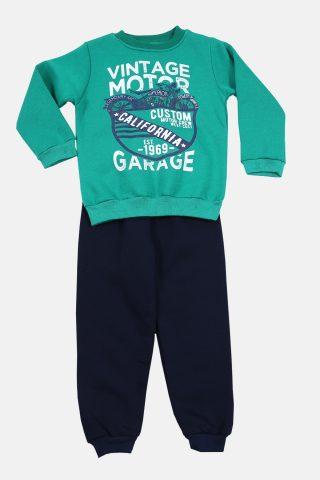 Φόρμα αγόρι με πράσινο φούτερ και μαύρο παντελόνι