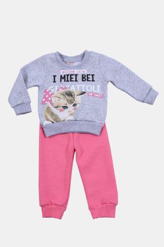 Φόρμα παιδική γατάκι με γκρι φούτερ και ροζ παντελόνι