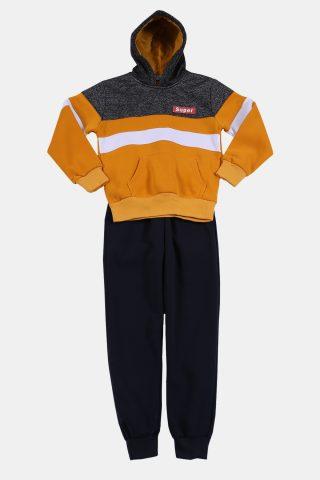 Φόρμα παιδικη κίτρινη με τρίχρωμο φούτερ και μάυρο παντελόνι
