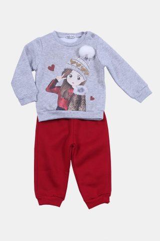 Παιδική φόρμα με γκρι φούτερ και κόκκινο παντελόνι