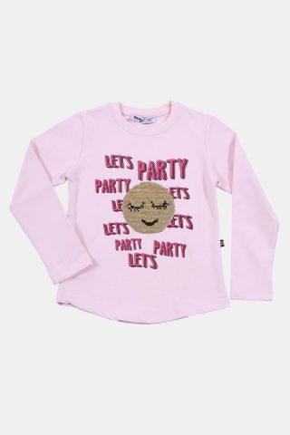 Παιδική μπλούζα ροζ με απλικέ φατσούλα